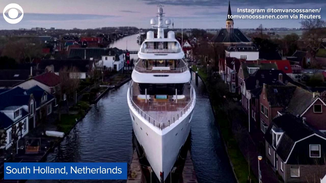 WEB EXTRA: Superyacht Sails Through Canals In Holland