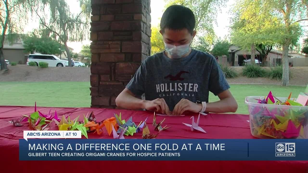 Gilbert teen creating origami cranes for hospice patients