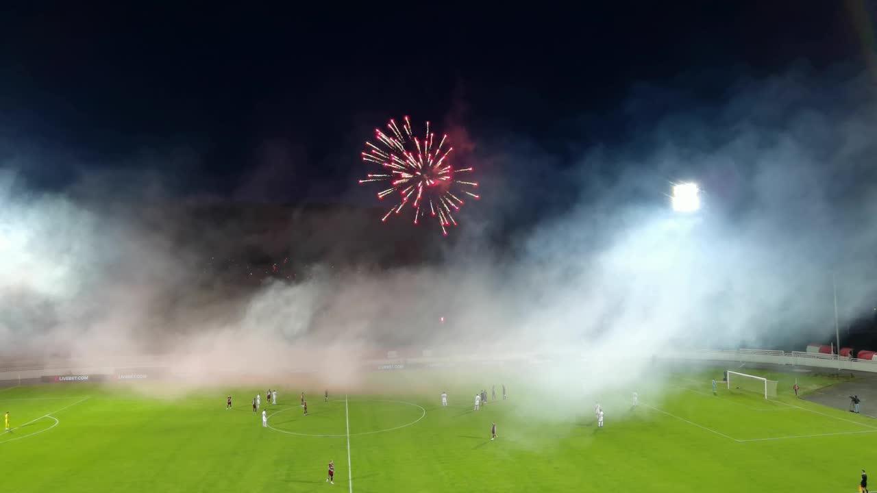 Fireworks interrupt match Bosnia premier league match between Sarajevo and Zrinjski