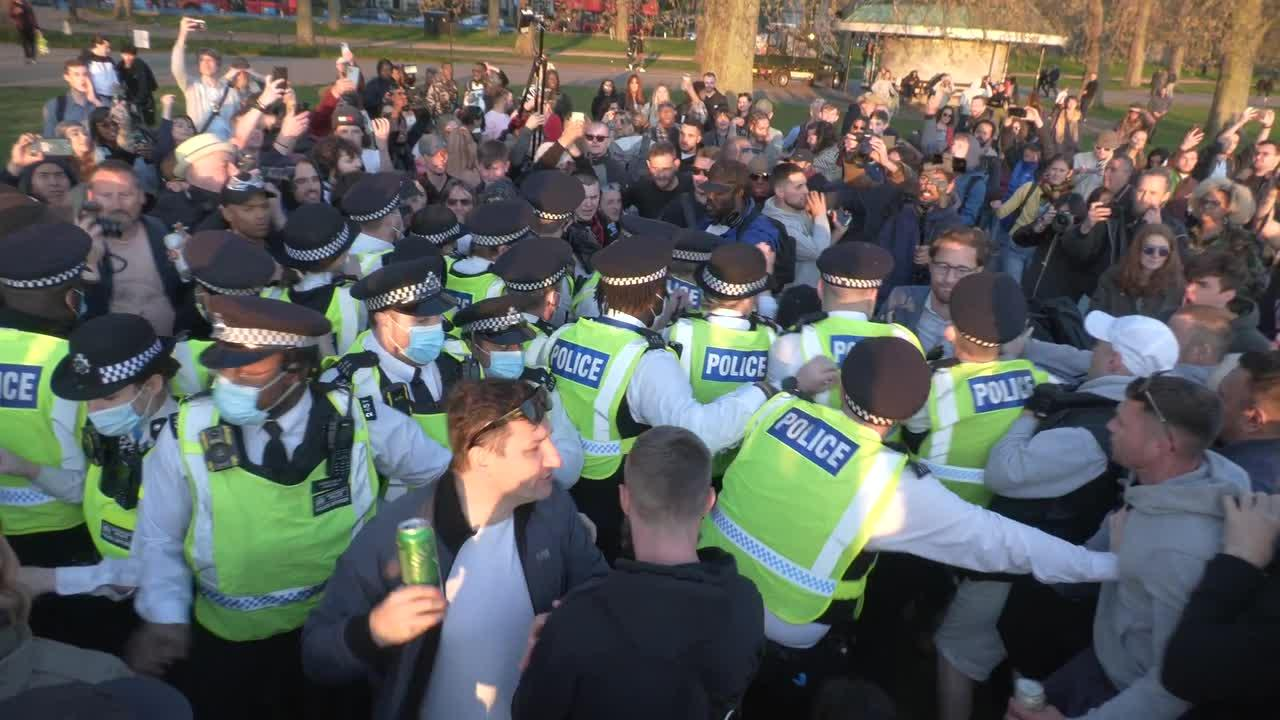 Police officers injured as anti-lockdown protesters and police clash in Hyde Park