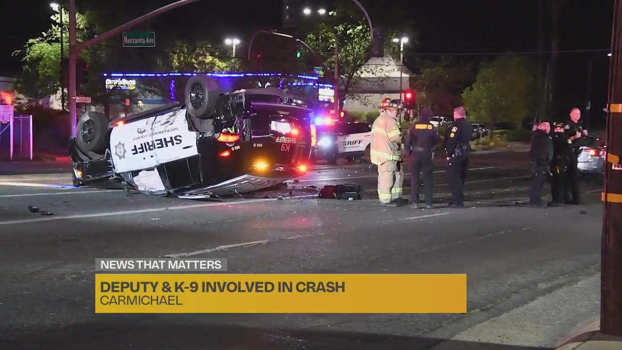 Sacramento deputy, K-9 involved in crash; no serious injuries reported