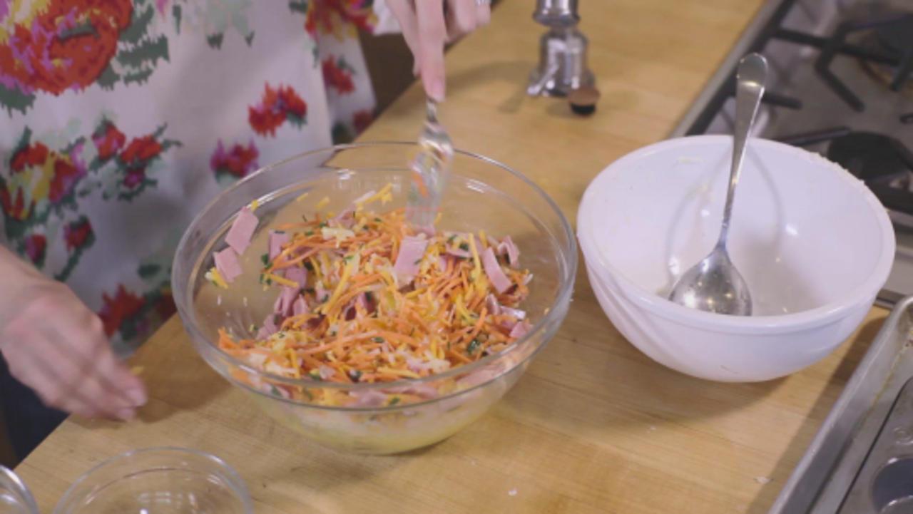 Quarantine Meals: Savory Potato 'Nests' with Honey Glazed Ham