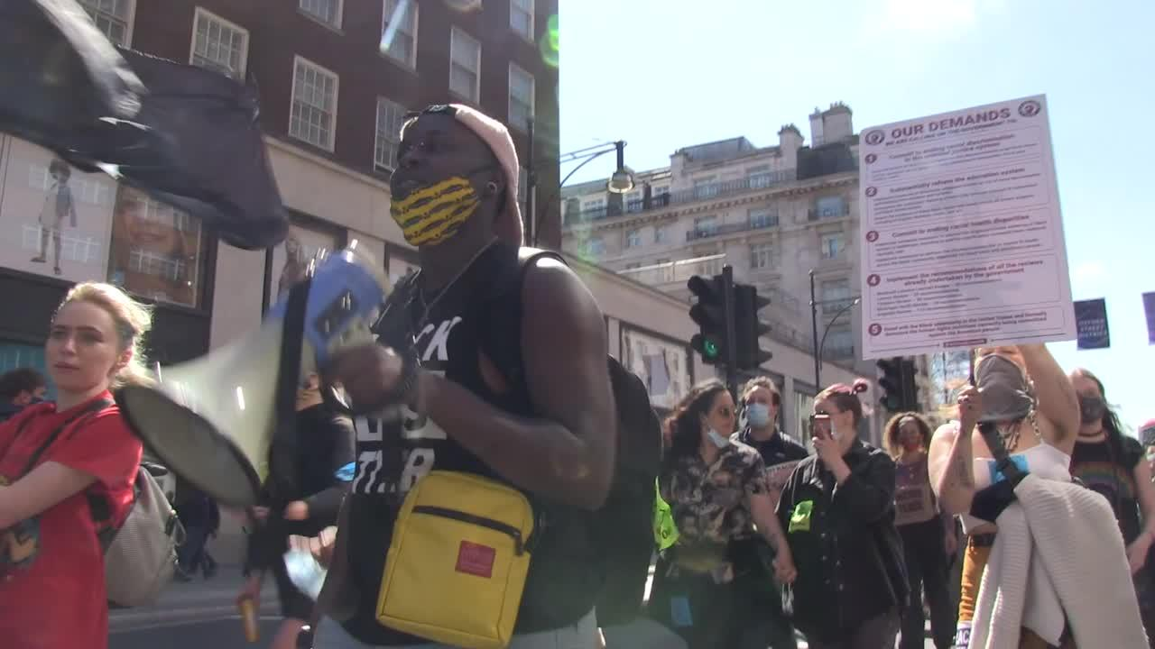 Black Lives Matter protesters march in London against proposed UK policing bill