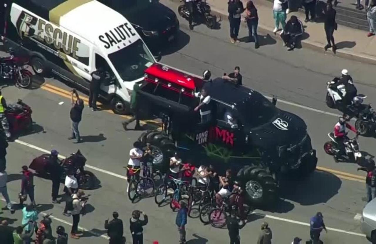Rapper DMX's casket rides monster truck to memorial