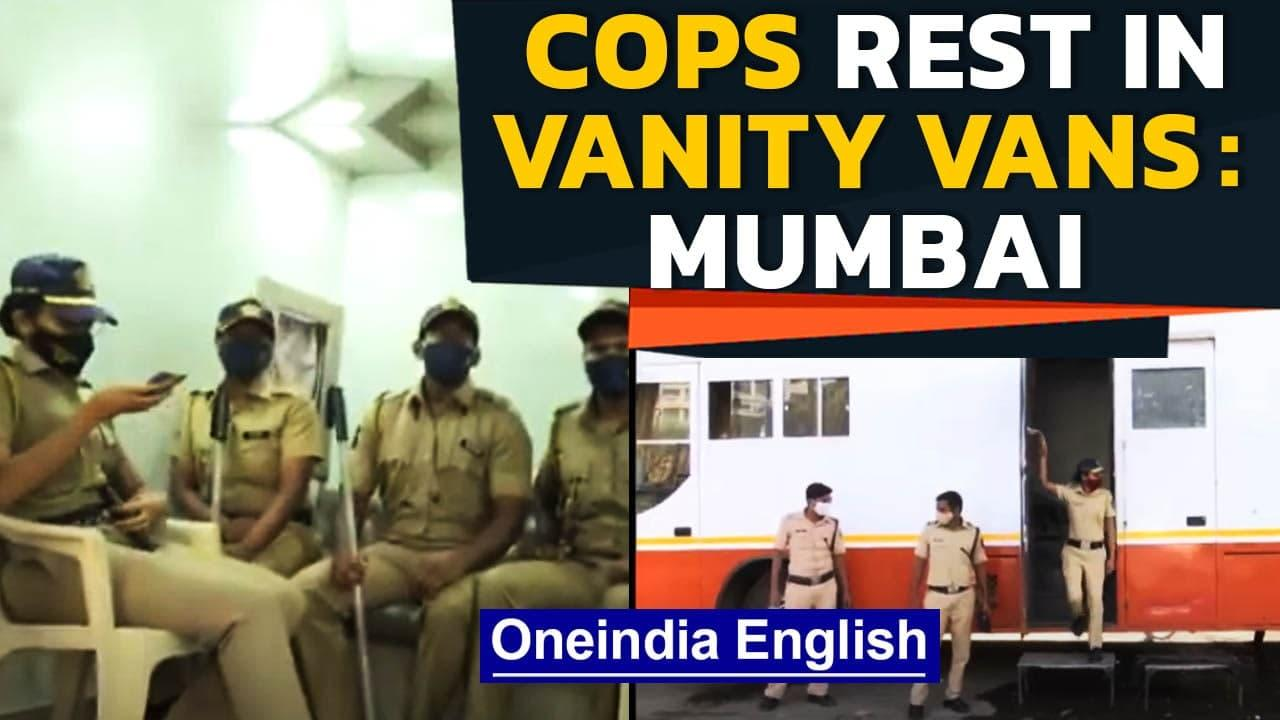 Mumbai police take rest in vanity vans for actors: Watch | Oneindia News