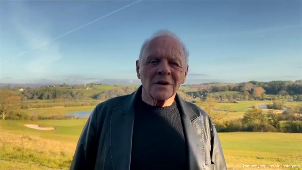 Anthony Hopkins pays tribute to Chadwick Boseman in belated Oscars acceptance speech