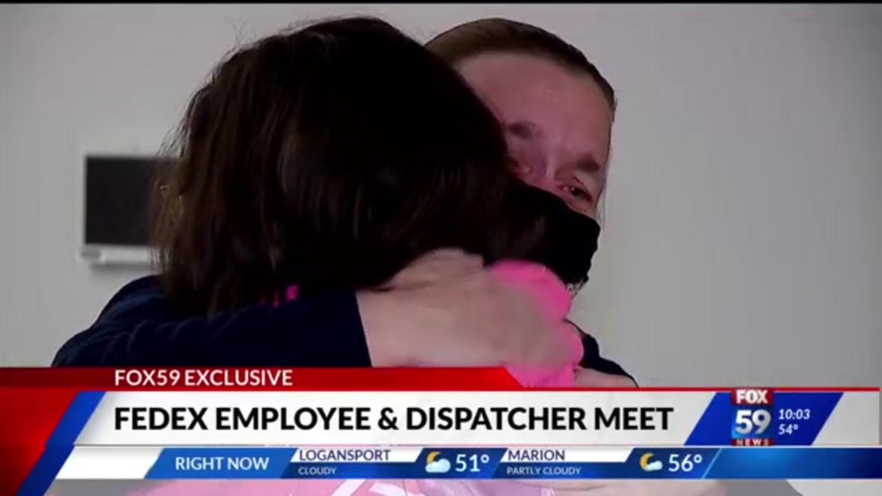 Tearful reunion between FedEx employee, 911 dispatcher who stayed on the phone throughout mass shooting