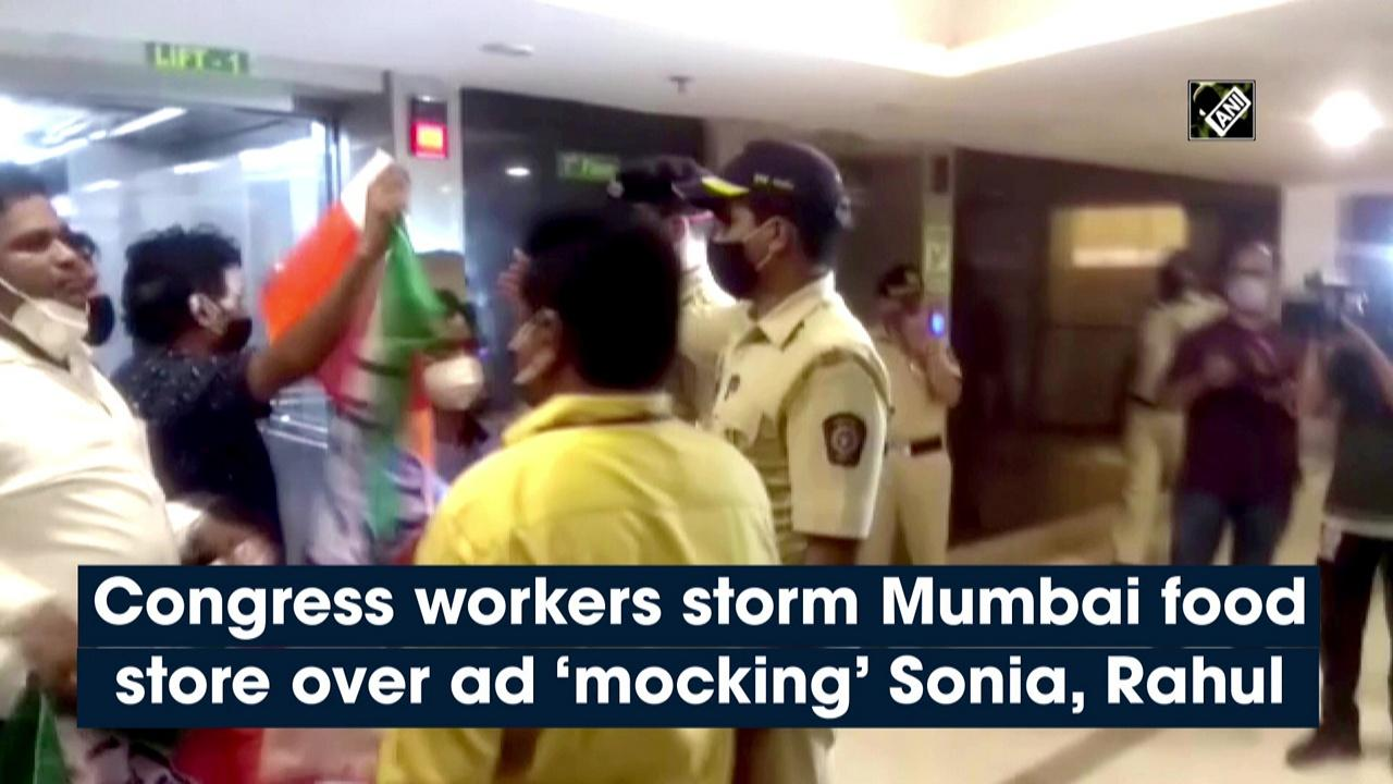 Congress workers storm Mumbai food store over ad 'mocking' Sonia, Rahul