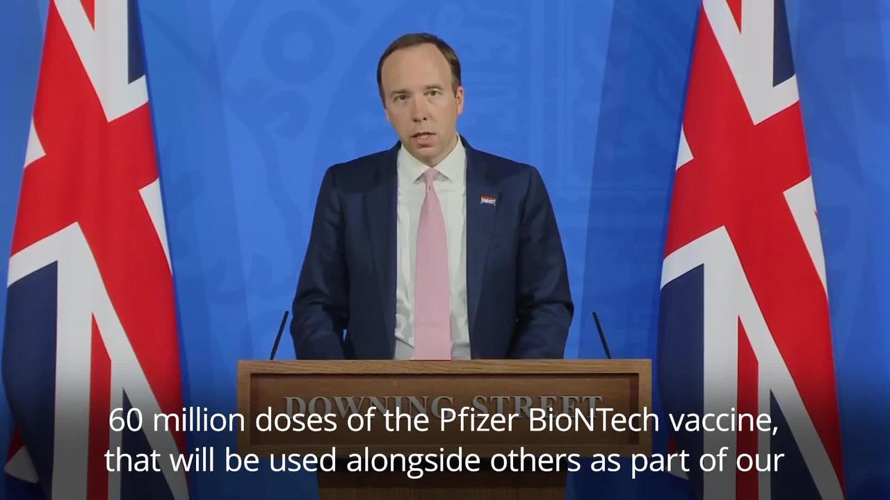 Hancock announces 60m doses of Pfizer jab for autumn booster programme