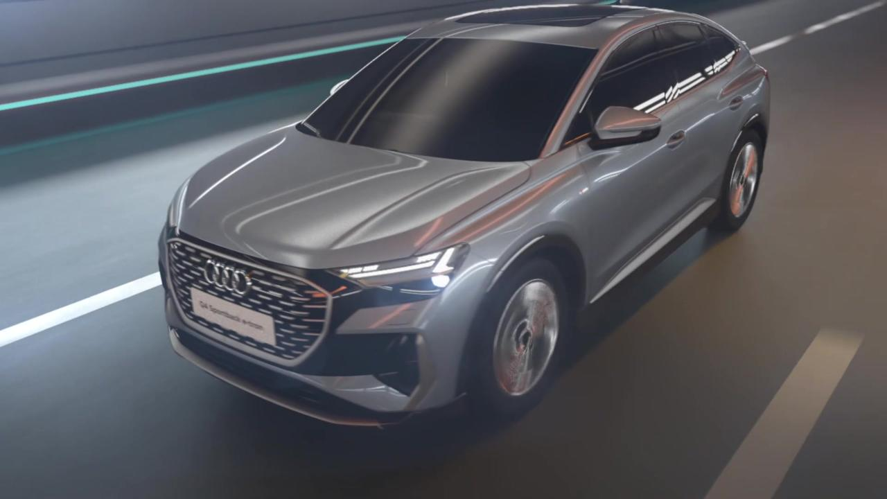 Aerodynamics of the Audi Q4 Sportback e-tron Animation