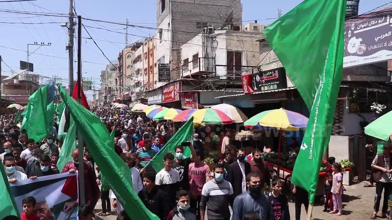 Hamas demonstration after the postponement of Palestinian elections