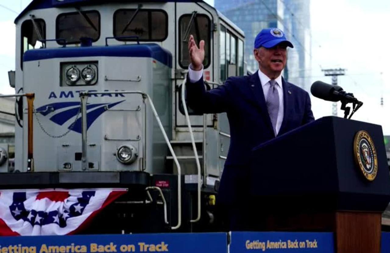 'Amtrak Joe' Biden pushes infrastructure in Philly
