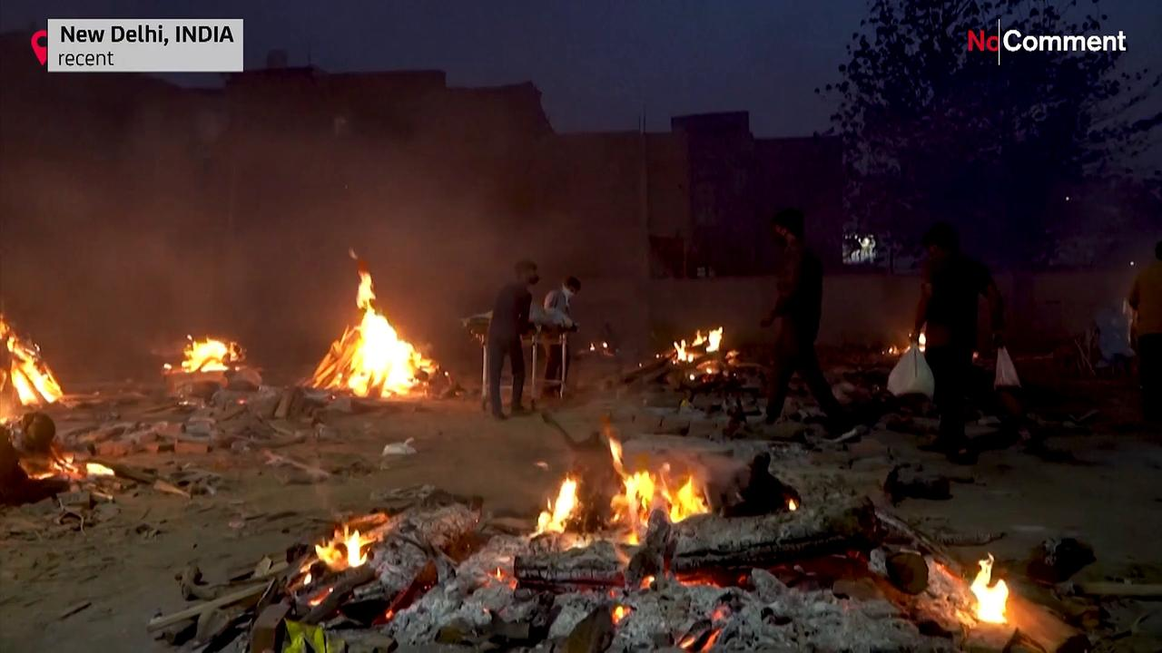Images from Delhi cremation and burial grounds as new Covid cases soar