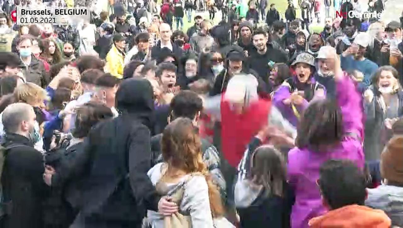 Clashes as revelers break rules to party in Brussels