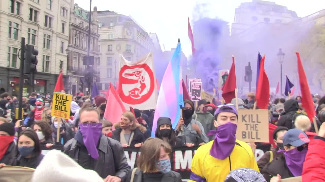 Thousands of 'Kill the Bill' protesters march through London on May Day