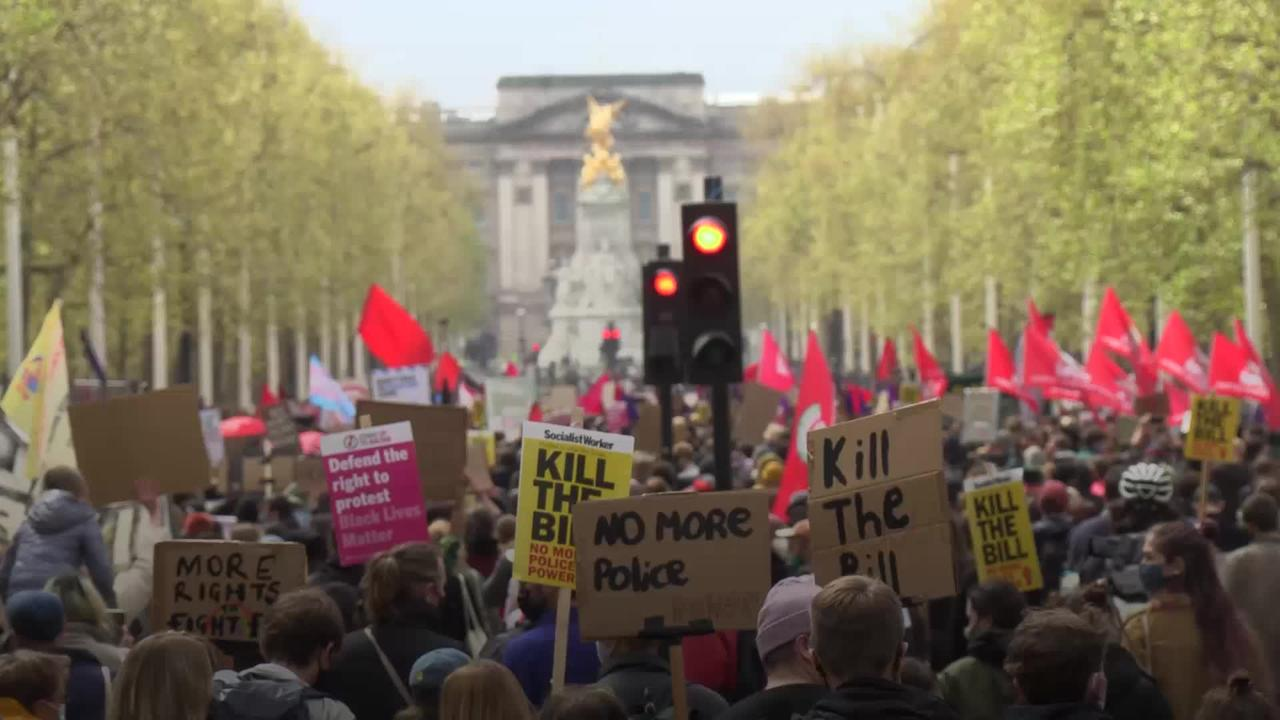 Hundreds march through central London for Kill the Bill protest