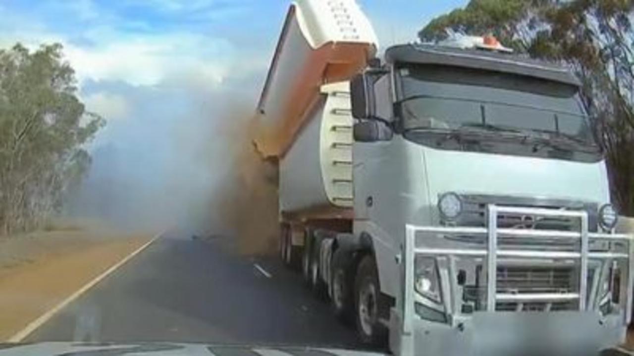 Truck collision captured on dashcam
