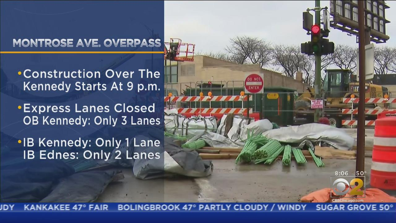 Expect Delays On Kennedy Expressway Due To Work On Montrose Avenue Overpass