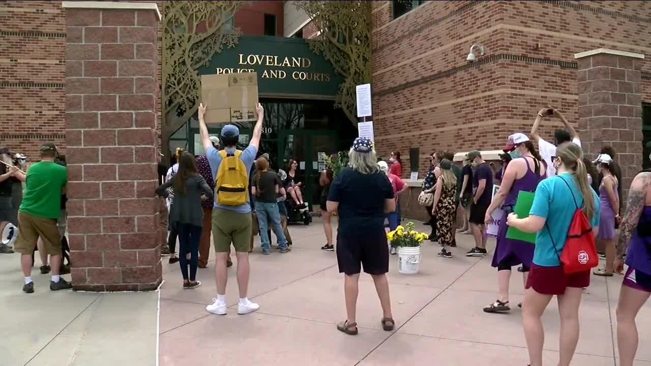 Karen Garner supporters hold rally near Loveland Police headquarters