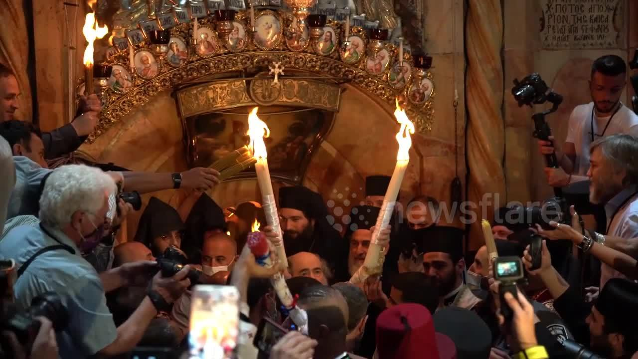 Christian Orthodox take part in Holy Fire ceremony at Jerusalem's Holy Sepulchre