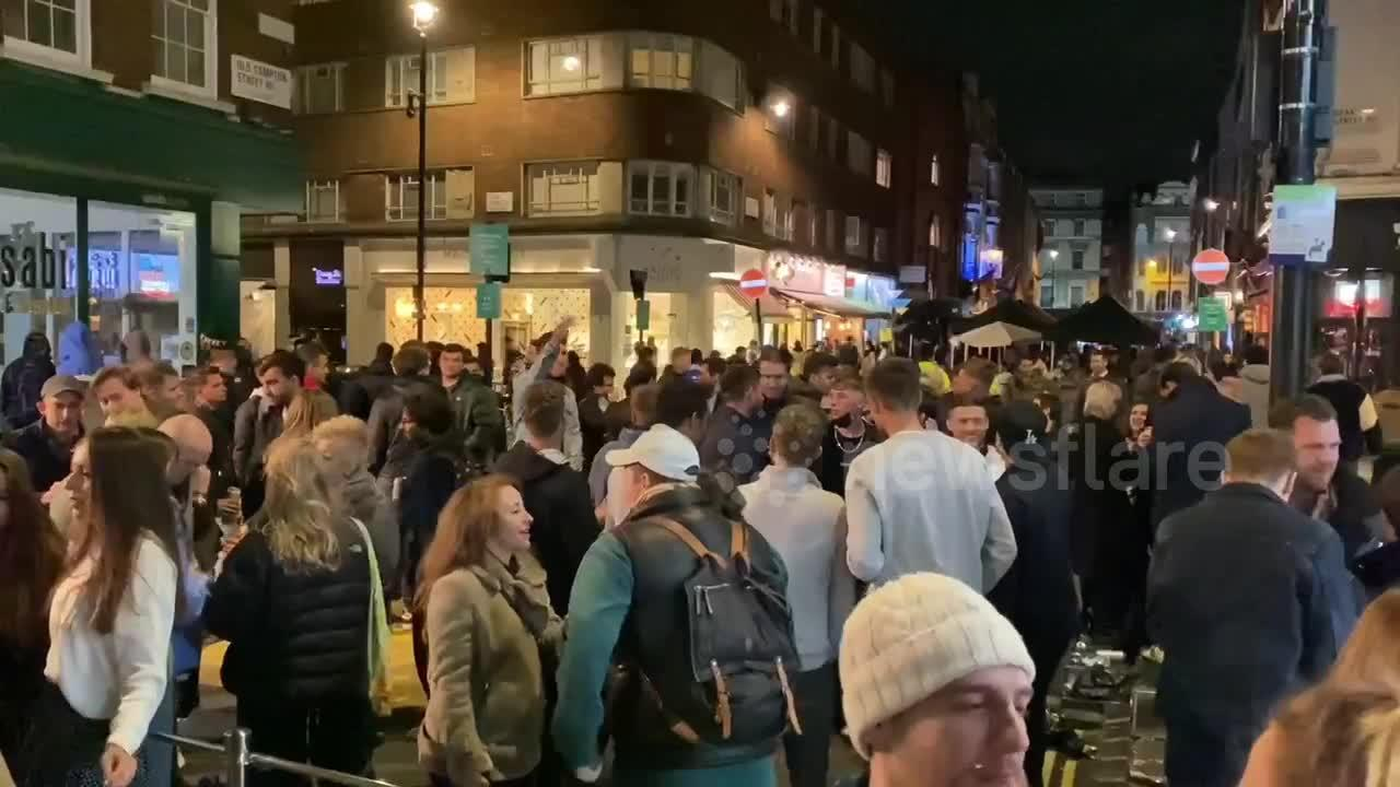 Crowds of drinkers in London's Soho for start of May Day bank holiday weekend