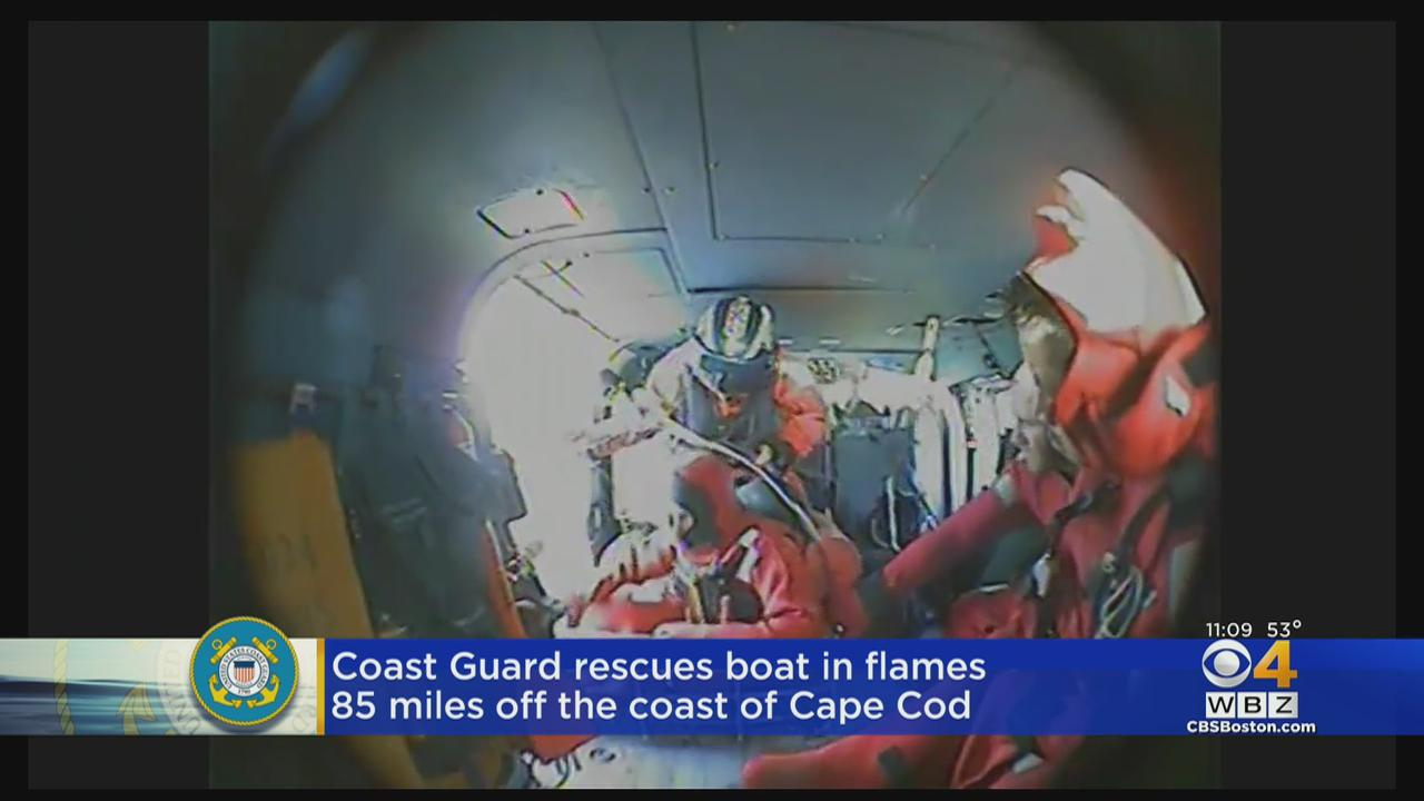 Coast Guard Rescues 5 Fisherman From Burning Boat Off Cape Cod