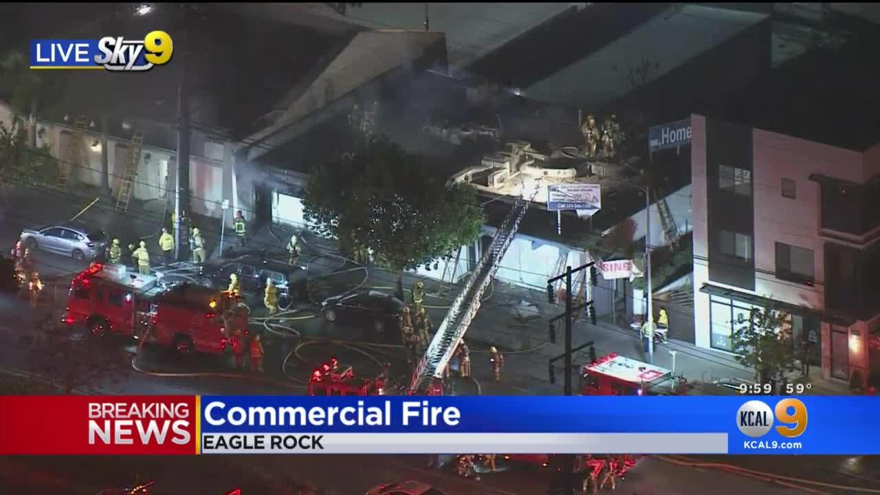 Flames Damage Commercial Building Under Demolition In Eagle Rock