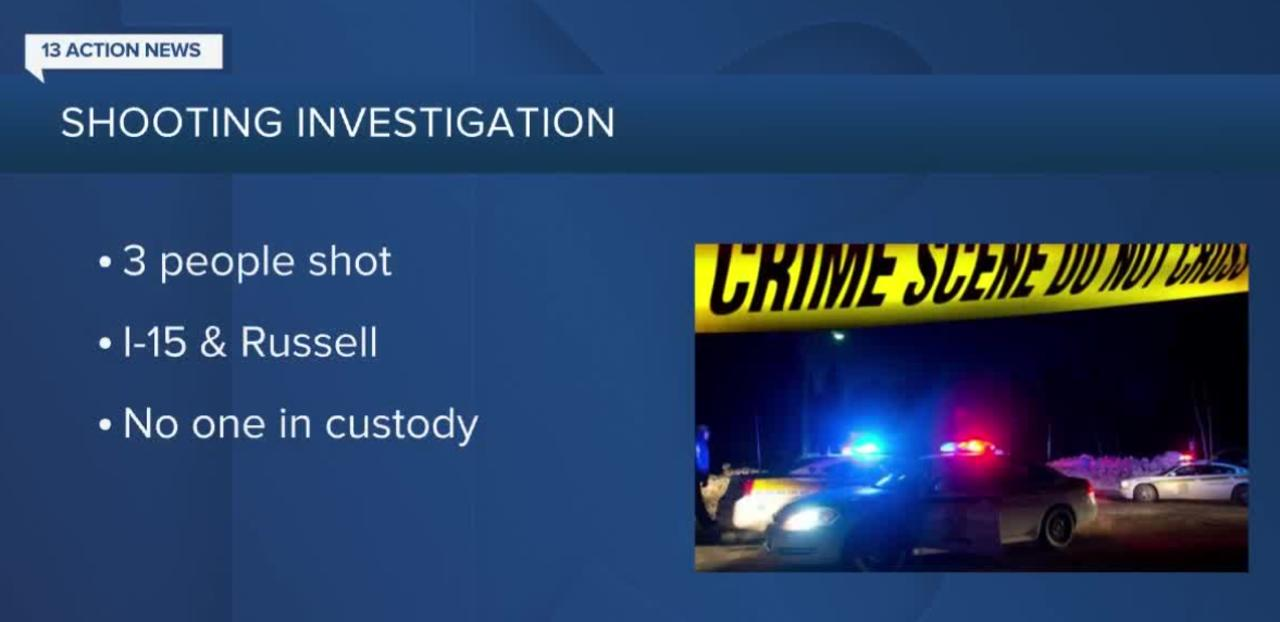 3 people shot on Interstate 15 near Russell, Las Vegas police say