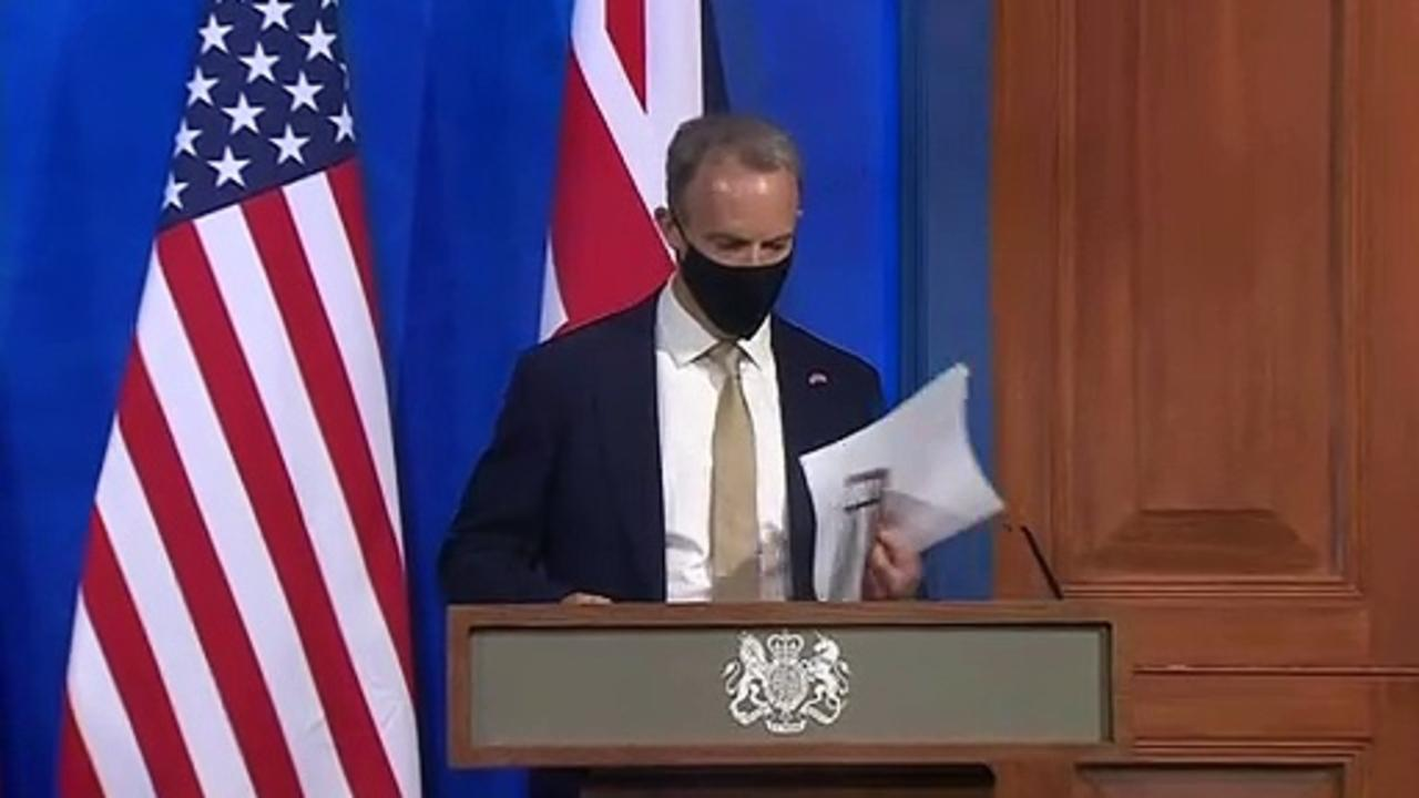 Dominic Raab and Anthony Blinken hold joint presser