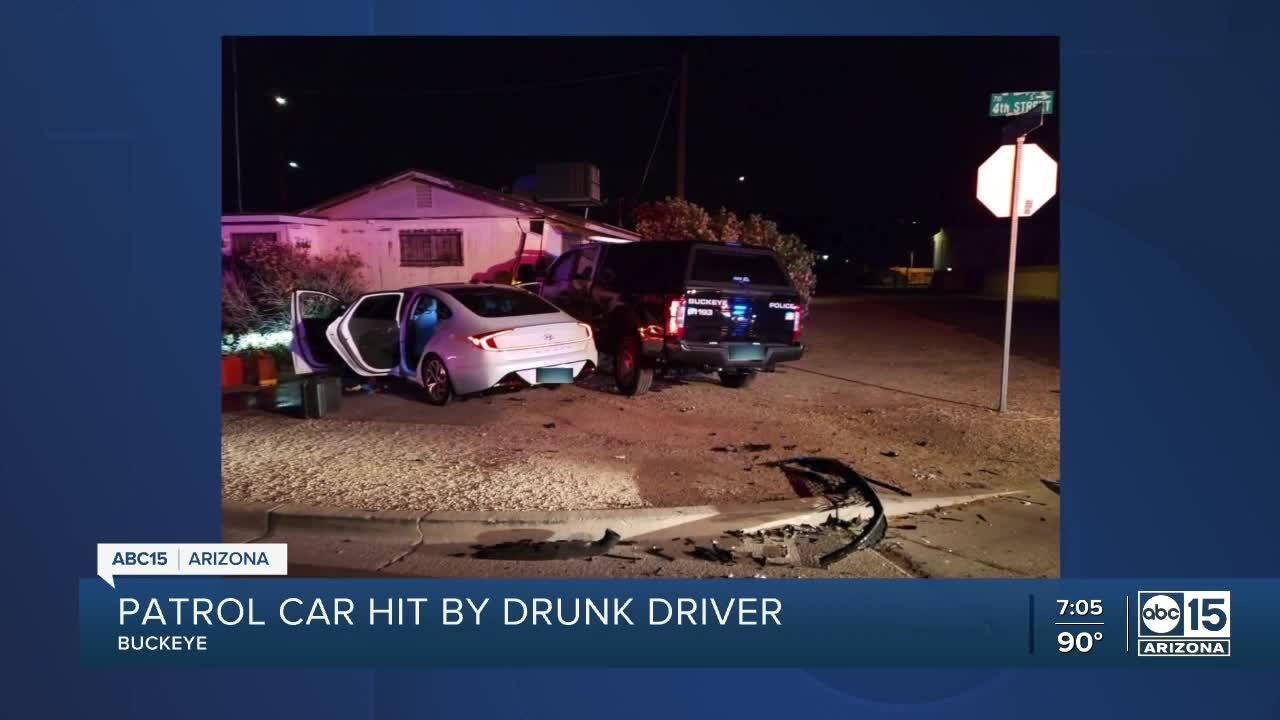 Buckeye police sergeant injured after suspected drunk driver hits patrol vehicle