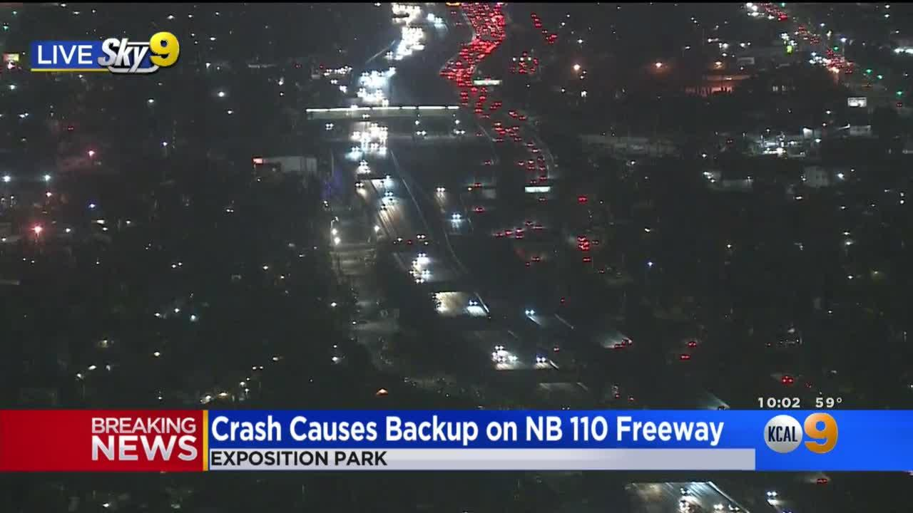 Traffic Backed Up For Miles Due To 110 Freeway Crash At Exposition Blvd