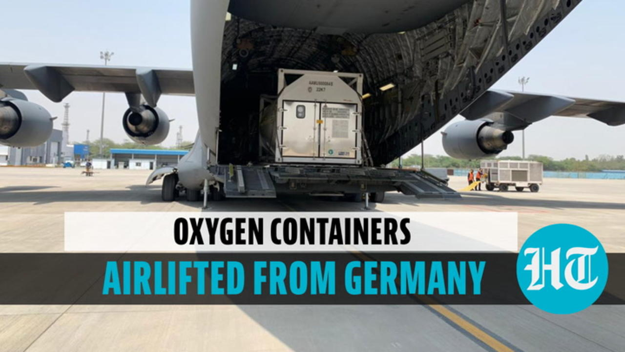 Watch: Indian Air Force airlifts 4 cryogenic oxygen containers from Germany