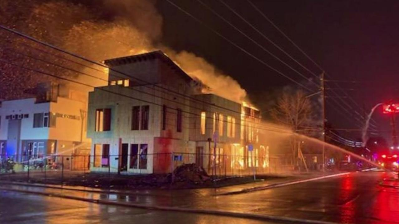 Flames Shoot From Building Under Construction In West Denver