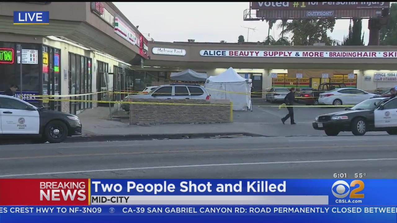 Two Men Killed, Woman Wounded When Gunfire Erupts At Mid-City Strip Mall