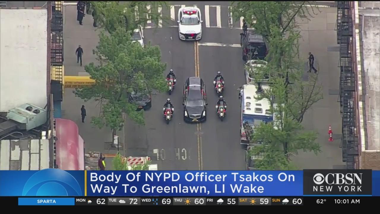 Officer Tsakos' Body Transported From Astoria To Greenlawn