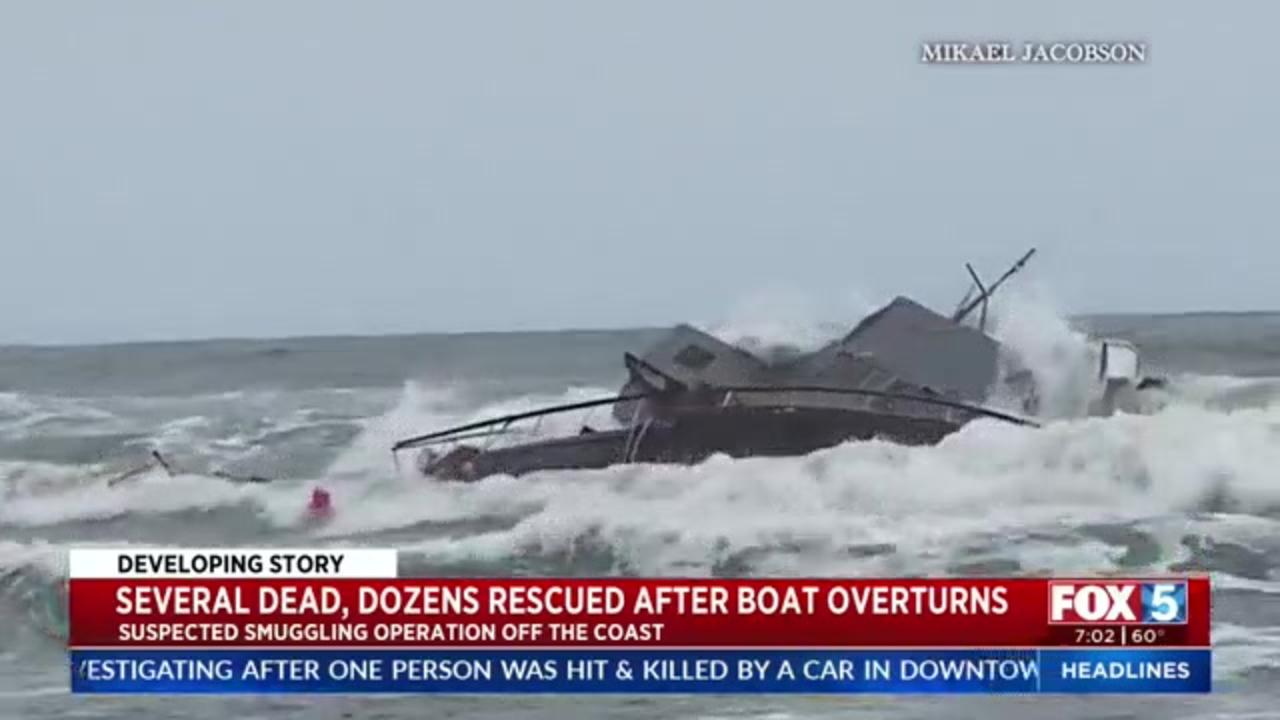 At least four killed, two dozen injured when suspected smuggler boat overturns near San Diego