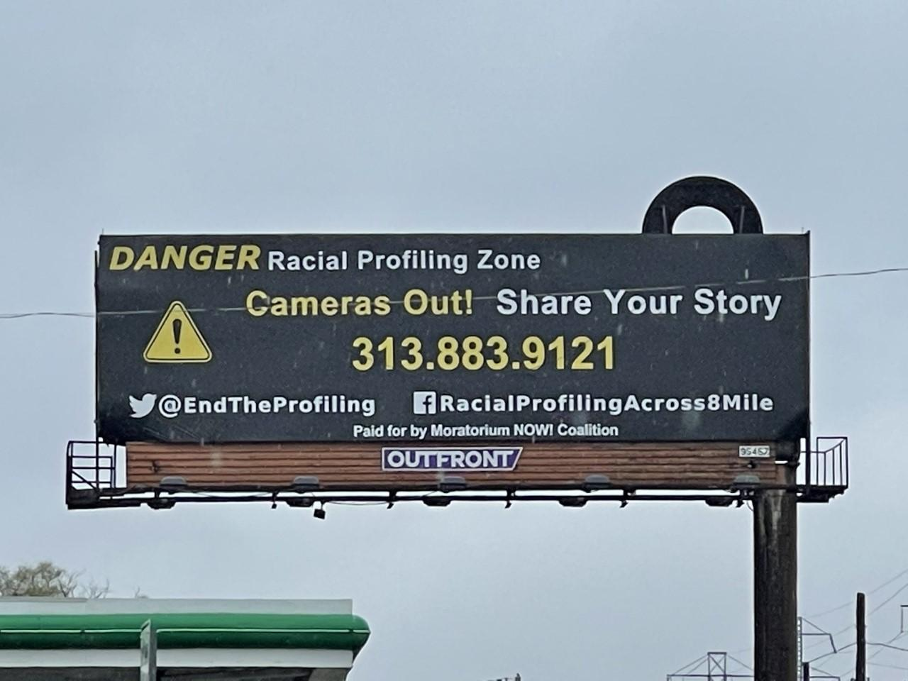 New billboard along 8 Mile Road alleges racial profiling in the area