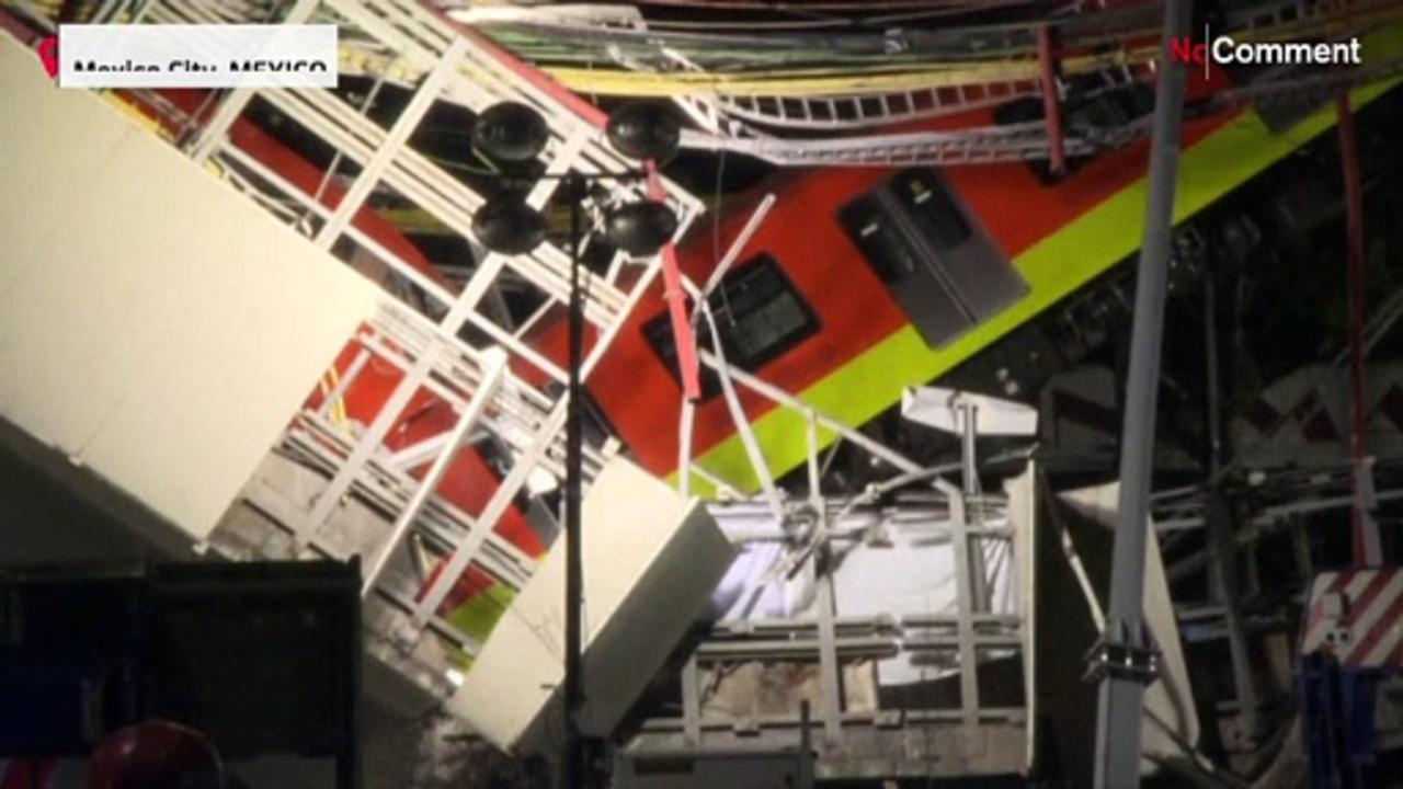 Mexico City bridge collapses with metro train on it