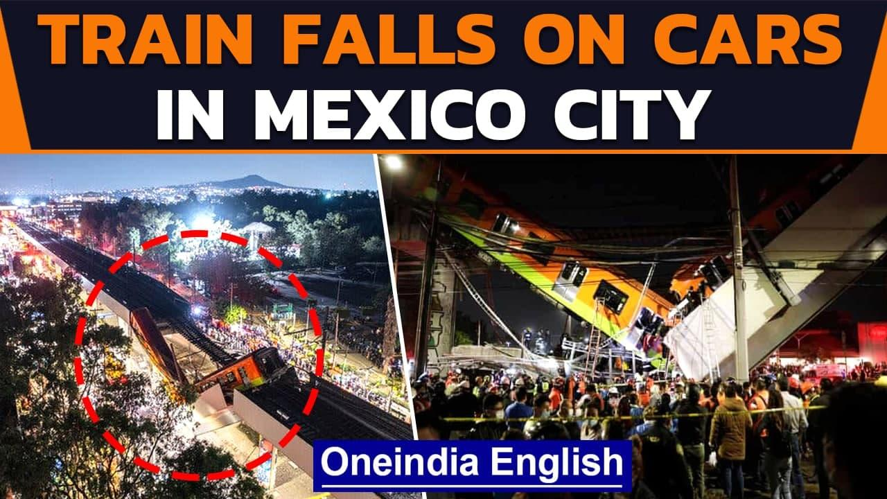Mexico City: Overpass carrying metro train cars collapses on road | Oneindia News