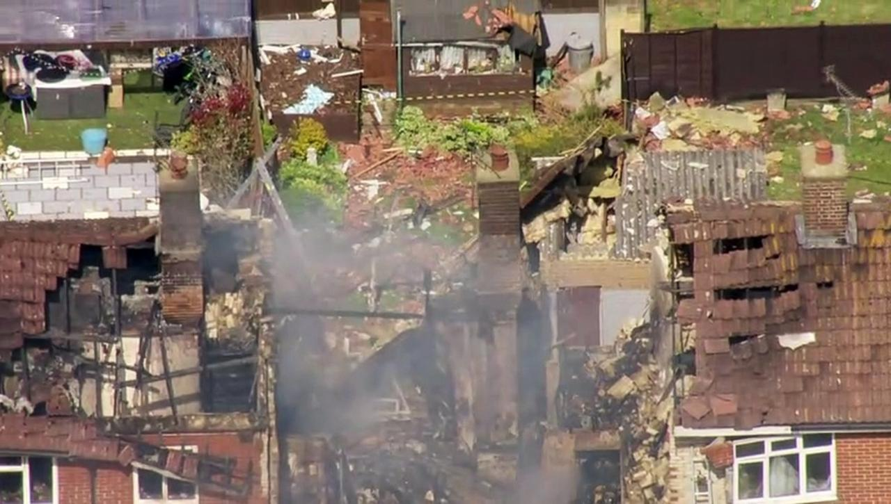 Aerials capture the site of house explosion