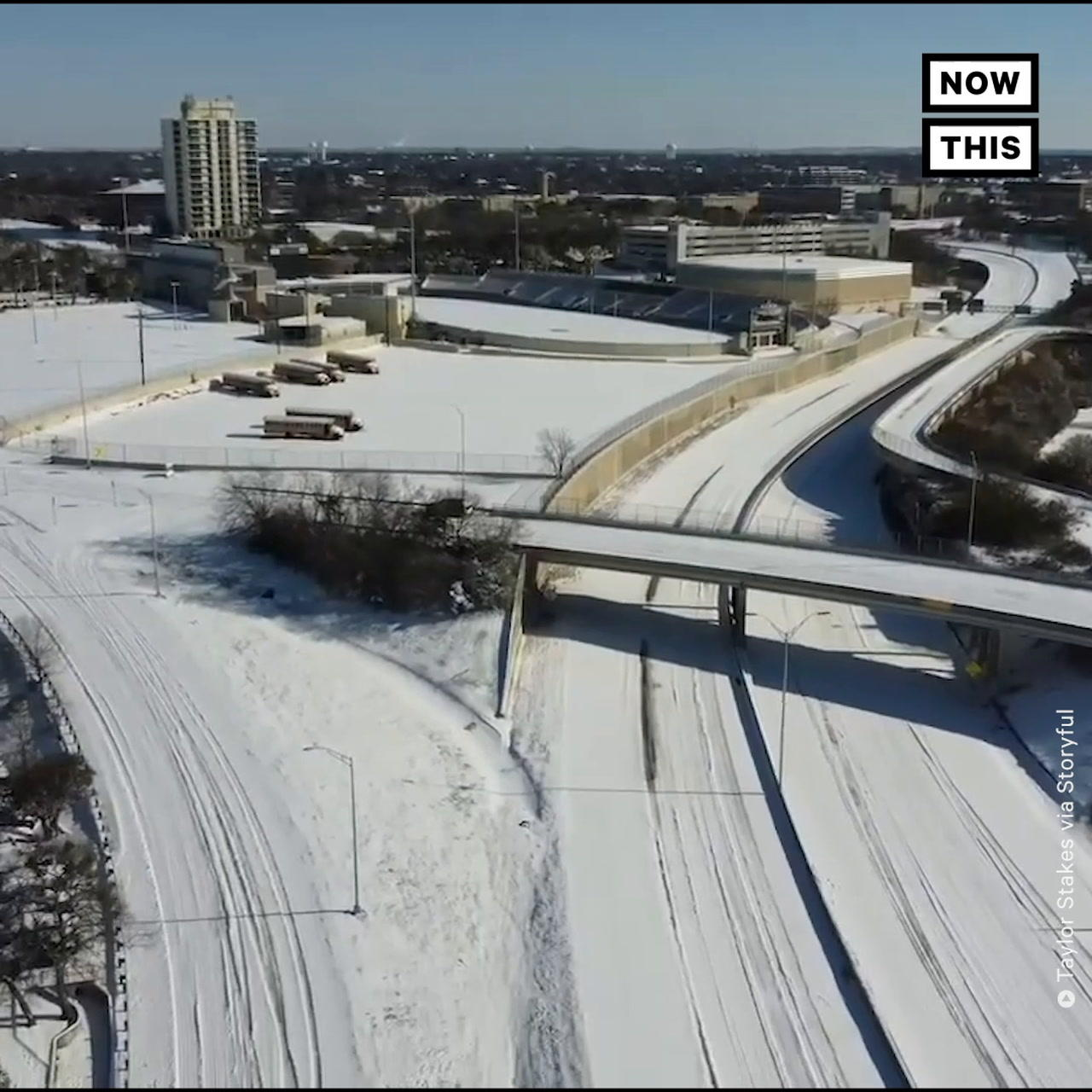 Drone Footage Shows San Antonio, Texas, Covered in Snow