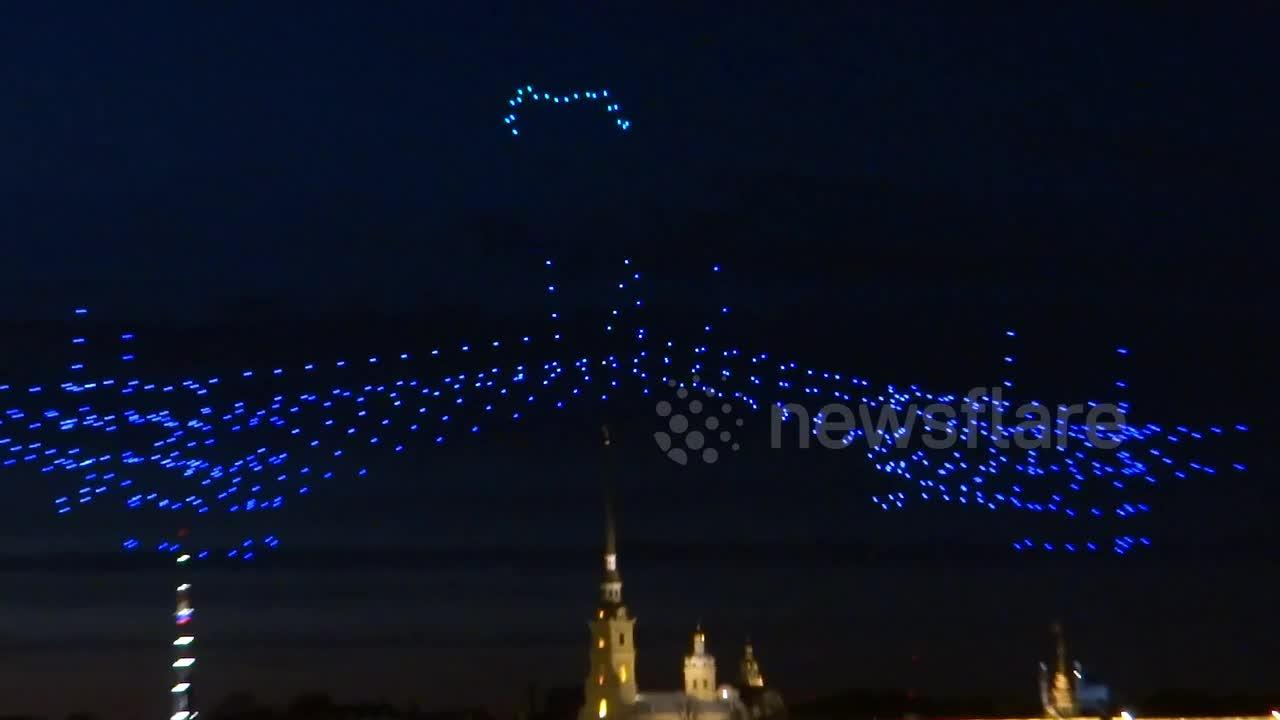 Hundreds of devices take to sky in spectacular show at drone festival in St Petersburg, Russia