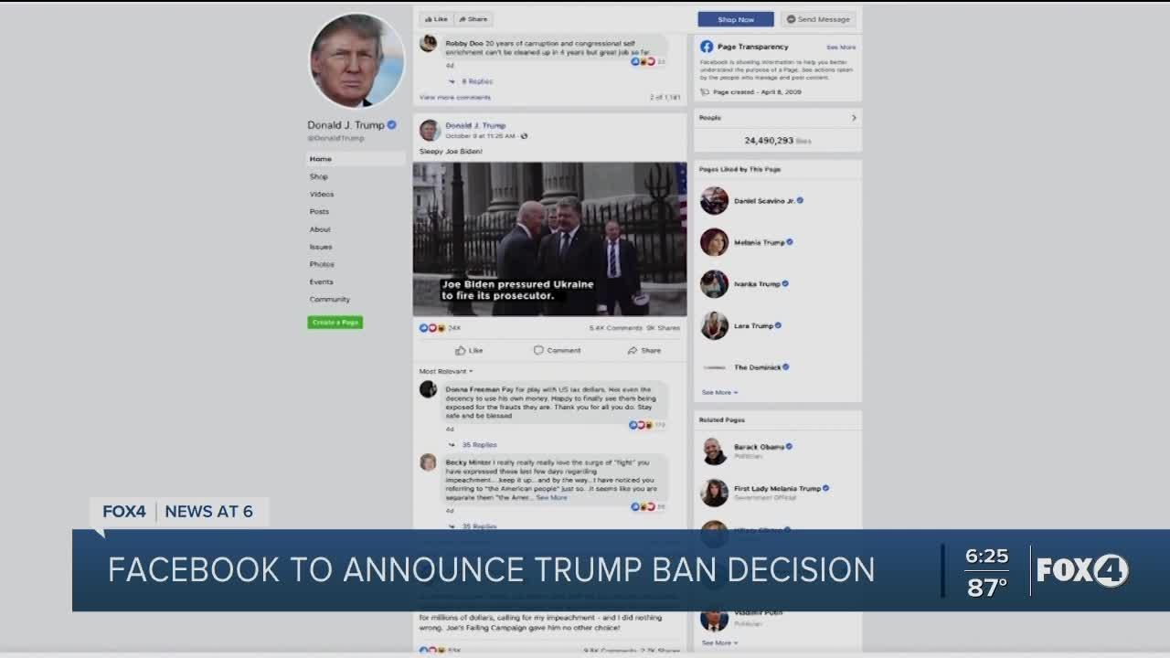 Facebook Oversight Board to announce Wednesday whether Trump will be able to return