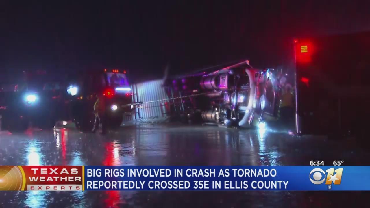3 Big Rigs Crash On I-35 In North Texas During Tornado Warning
