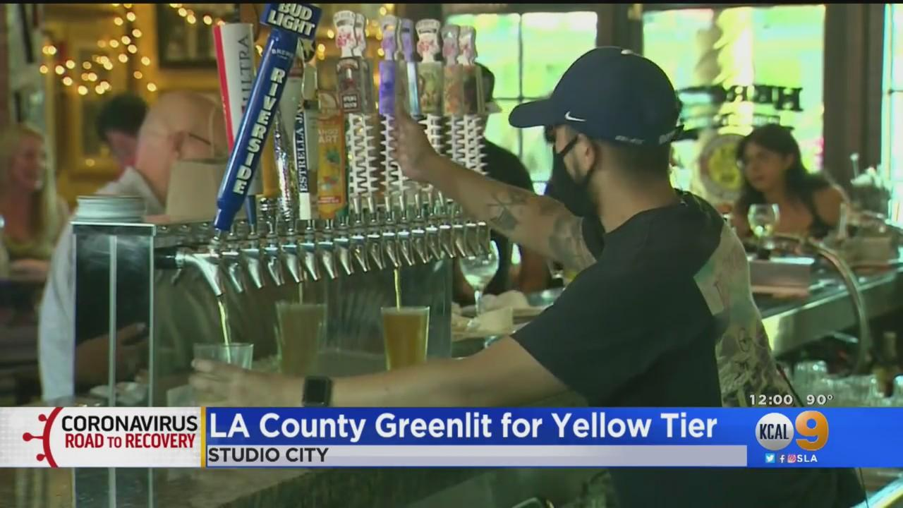 LA County To Move Into Yellow Tier Thursday; Bars Can Reopen Indoor Operations