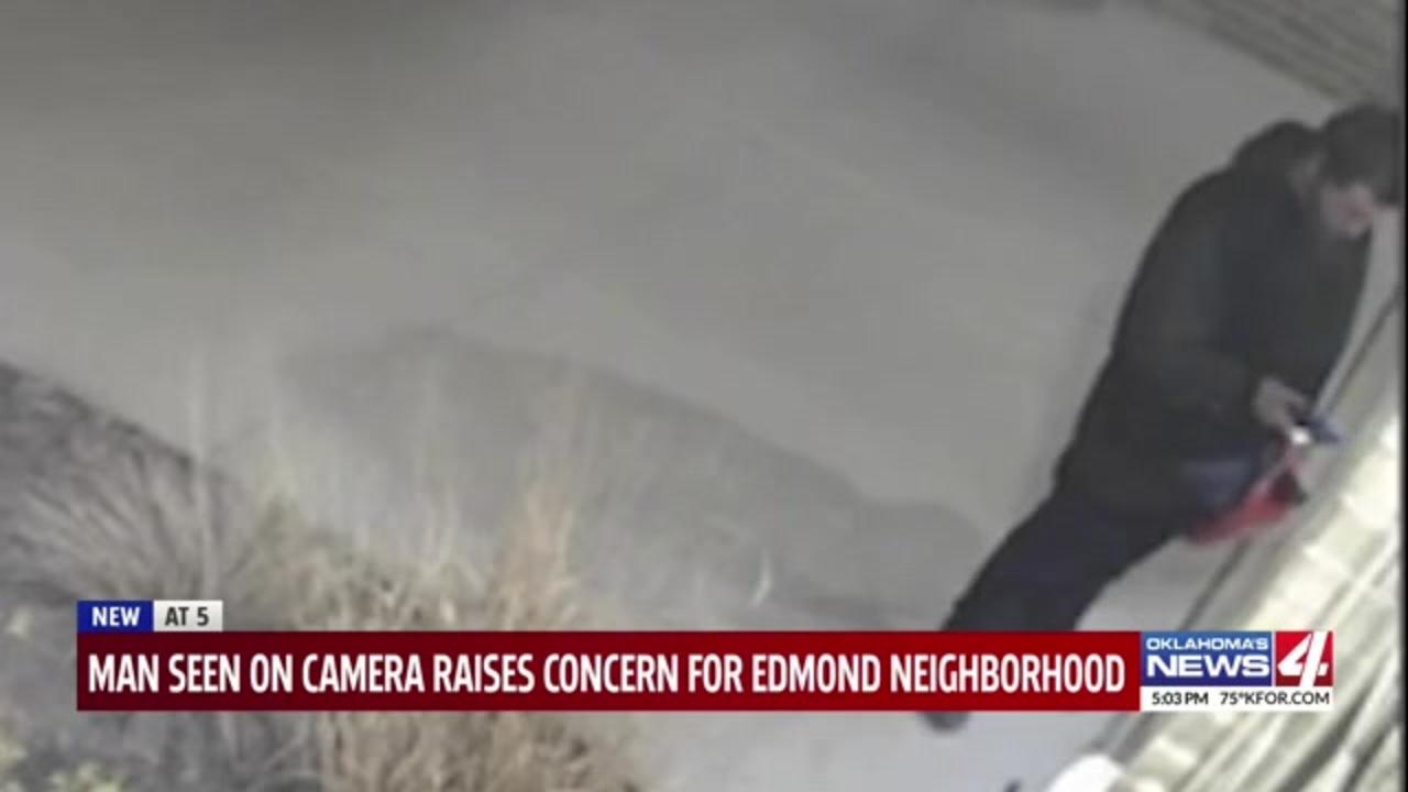 Oklahoma neighborhood on edge after man caught on camera lurking outside homes