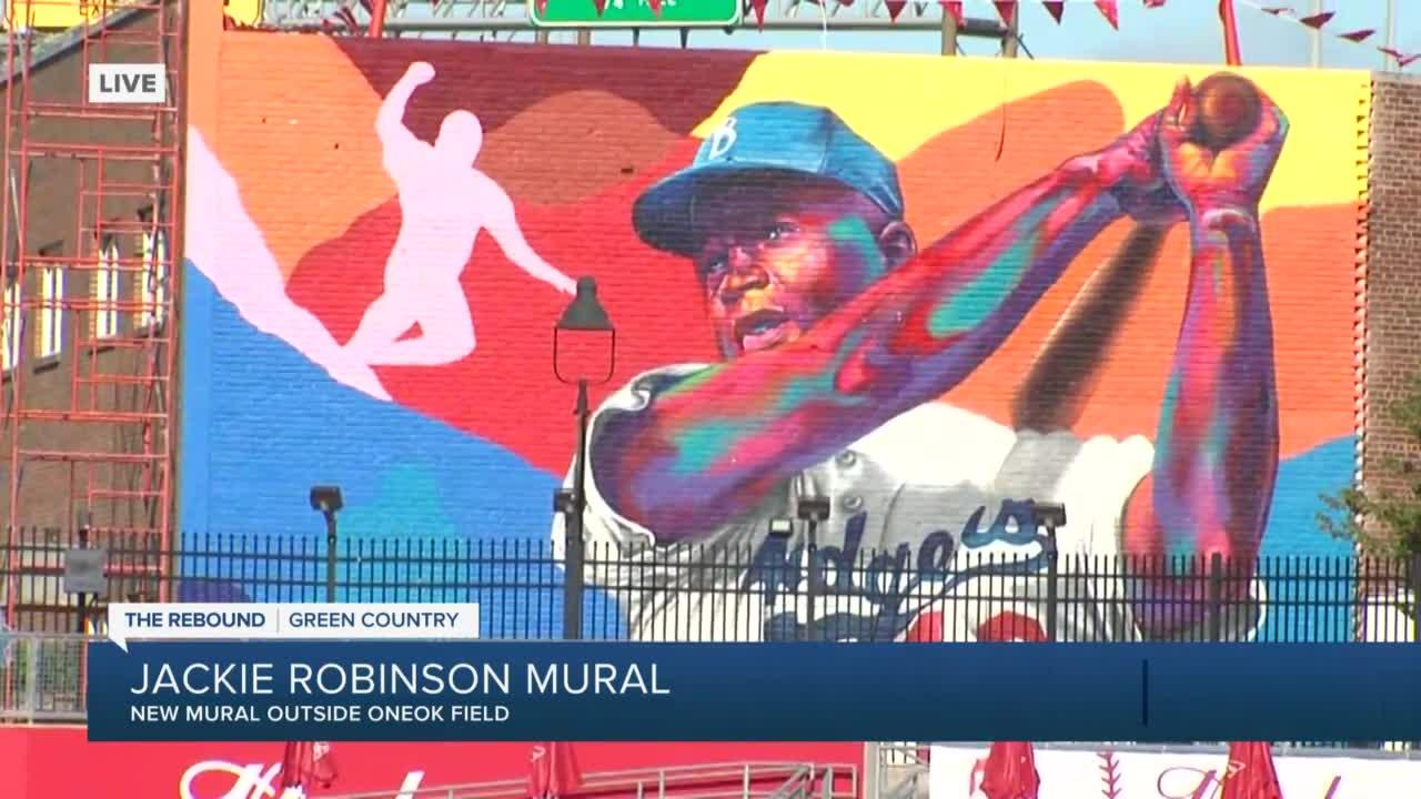Tulsa Drillers debut Jackie Robinson mural outside ONEOK Field