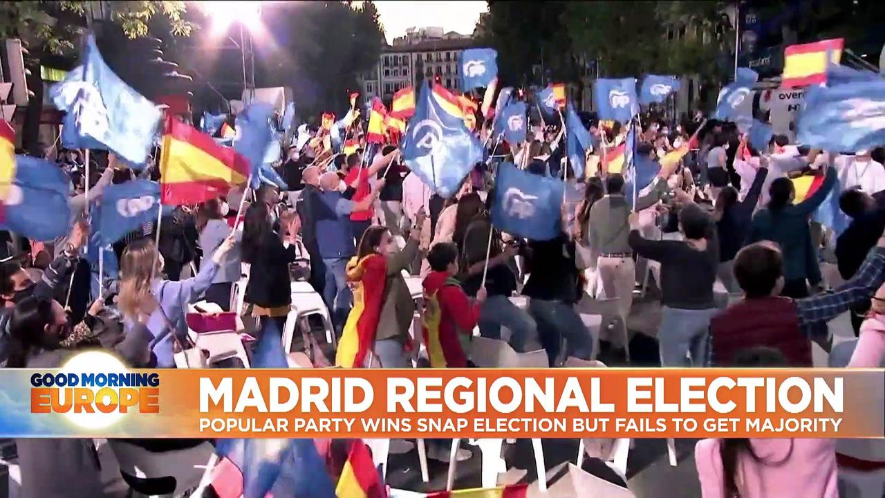 Right-wing opposition Popular Party wins in Madrid regional elections as Podemos leader quits