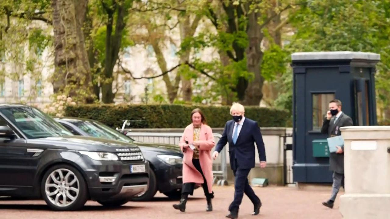 Boris Johnson arrives at G7 talks