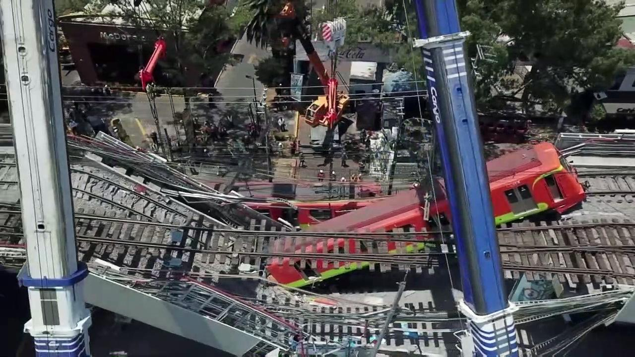 Drone Footage Shows Metro Carriages Lifted From Mexico City